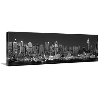 """New York, New York City, Panoramic view of the West side skyline at night (Bl"" Canvas Wall Art"
