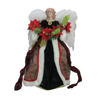 "16"" Green and Red Holly Berry Christmas Angel Tree Topper"