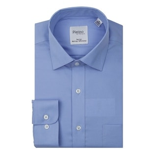 Marquis Men's Solid Non-Iron Button Down Dress Shirt with Convertible Cuff