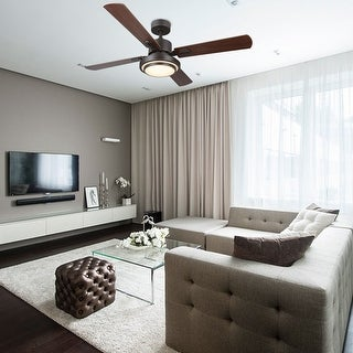 """CO-Z 52"""" 4-blade Old Bronze and Nickel LED Ceiling Fan with Remote Control"""