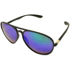 Aviator Sunglasses Black Flexible Frame Green Blue Mirrored Lens UV400