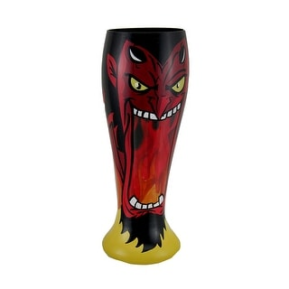 One Hell of a Drink Hand Painted Devil Pilsner Glass - 9 X 3.25 X 3.25 inches
