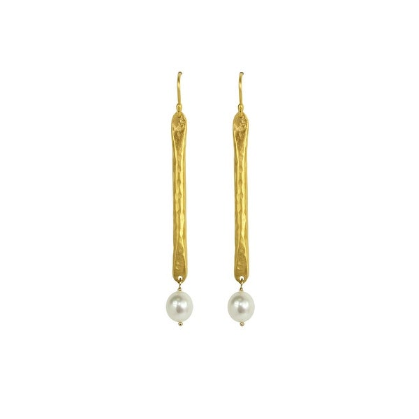 Gold Plated And White Pearl Drop Earrings