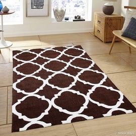 """AllStar Brown Hand Made Modern. Floral. design Area Rug with Dimensional hand-carving highlights (4' 11"""" x 6' 11"""")"""
