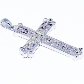 0.75cttw Diamond Cross Pendant Sterling Silver 35mm Tall (I/j Color 0.75cttw)