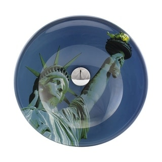 Blue Tempered Glass Vessel Sink Lady Liberty Round Bowl with Drain