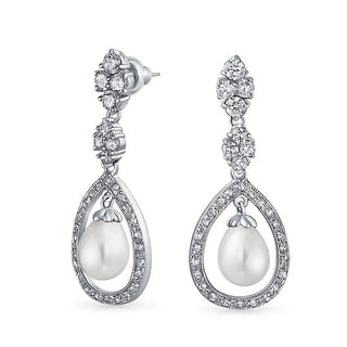Bridal CZ Teardrop White Dangle Imitation Pearl Earrings Silver Plate