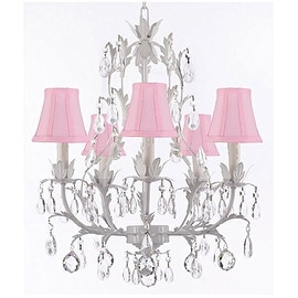 White Wrought Iron Floral Chandelier with Crystal Balls and Shades!