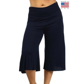 Plus Size Women's Navy Gaucho Pants 3/4 Long Palazzo Pants Loose Fit Waist Band 1XL 2XL 3XL