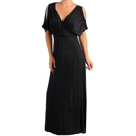 Funfash Plus Size Black Women's Open Shoulder Cocktail Maxi Long Dress