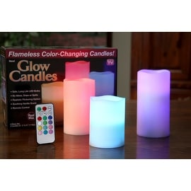 3-Piece Set: Color-Changing LED Flameless Candles Made with Real Wa
