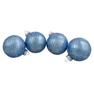 """4ct Blue and Silver Plaid Glitter Glass Christmas Ornament Ball Set 2.75"""" (70mm)"""
