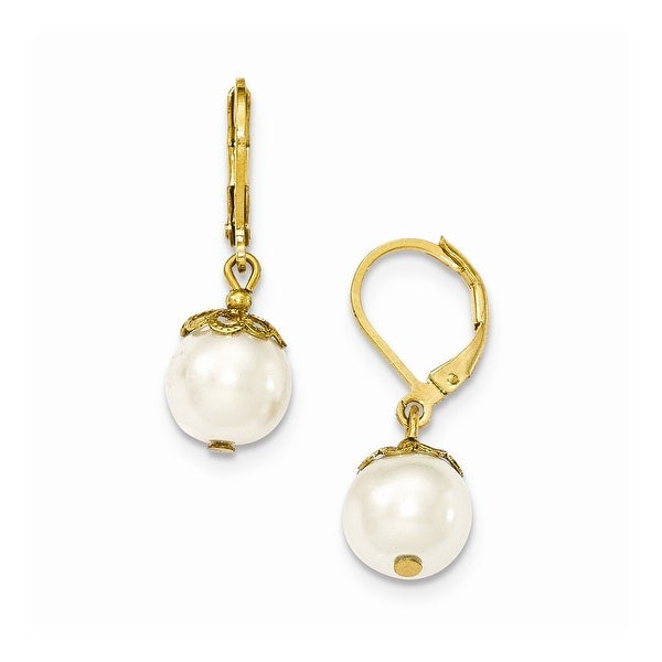 Goldtone Swirled Cultura Glass Pearl Post Earrings