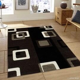 "Allstar Brown Modern Geometric Brown square design Area Rug (3' 9"" x 5' 1"")"