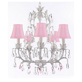 White Wrought Iron Floral Chandelier with Pink Hearts and Shades!