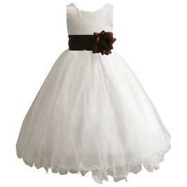 Wedding Easter Flower Girl Dress Wallao Ivory Rattail Satin Tulle (Baby - 14) Brown