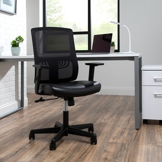 OFM Essentials Collection Mid Back Mesh Back with Leather Seat Office Chair, Lumbar Support, in Black (ESS-3048-BLK)