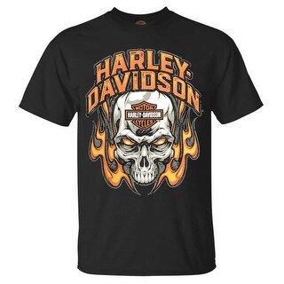 Harley-Davidson Men's Toasty Flaming Skull Crew-Neck Short Sleeve T-Shirt, Black