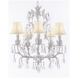 White Crystal Wrought Iron Floral Chandelier Lighting Crystal Chandelier With Shades!