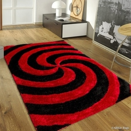 """AllStar Rugs Red Shaggy Area Rug with 3D Black Spiral Design. Contemporary Formal Casual Hand Tufted (7' 6"""" x 10' 5"""")"""