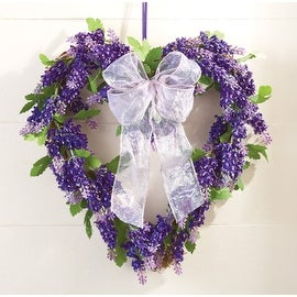 Lavender Floral Heart Wreath with Ribbon