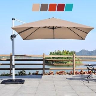 Costway 10Ft Patio Offset Cantilever Umbrella 360 Degree Tilt Aluminum