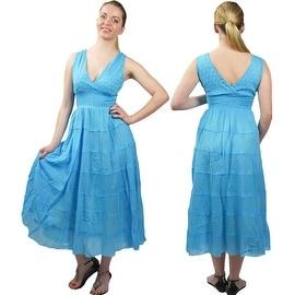 100-percent Cotton Summer Dress Sleeveless V-neck Sundress Empire Waist, Blue Black Orange White