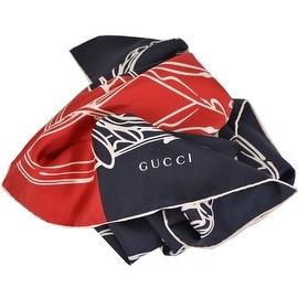 New Gucci Women's 421063 Silk Blue Bandana Riding Horse Twill Neck Scarf