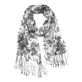 Women's Fashion Floral Soft Wraps Scarves -F1 Black