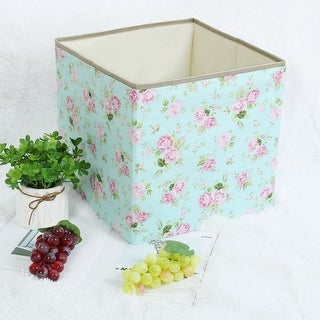 "Linen Fabric Storage Bin Toy Box Basket Organizer - Pink Floral - 13"" x 13"" x 13"""
