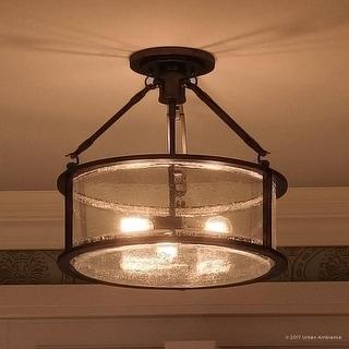 "Luxury Industrial Semi-Flush Ceiling Light, 14.25""H x 16""W, with Western Style, Rectangular Link Design, Estate Bronze Finish"