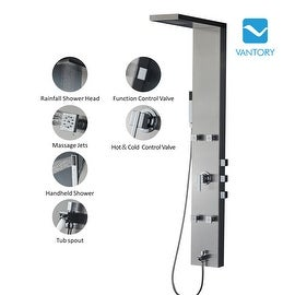"Vantory VSA101 59"" Stainless Steel Rainfall Shower Panel Simultaneous System with Adjustable Massage Jets"