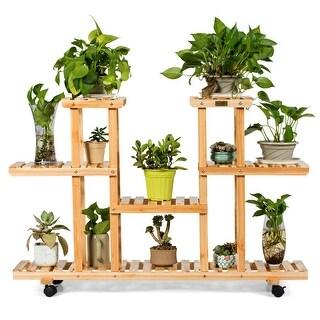 Costway 4-Tier Wooden Plant Stand W/Wheels Multipurpose Storage Rack,