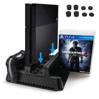 Vertical Stand with Cooling Fan Dual Controllers for PS4 PS4 Slim PS4 Pro Console - SIZE