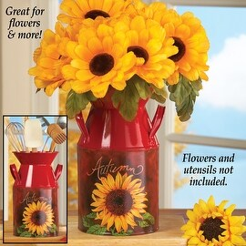 Red Antique Style Sunflower Milk Canister