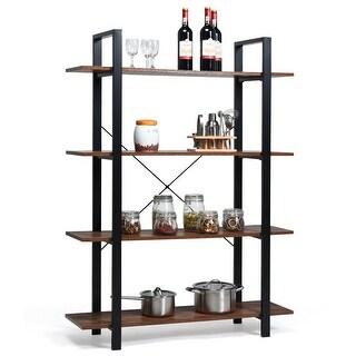 Gymax 4-Tiers Bookshelf Industrial Bookcases Metal Frame Shelf Display Stand Wooden - Wood grain