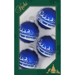"""4ct Royal Blue and White Santa Over Village Matte Christmas Ball Ornaments 2.5"""" (67mm)"""