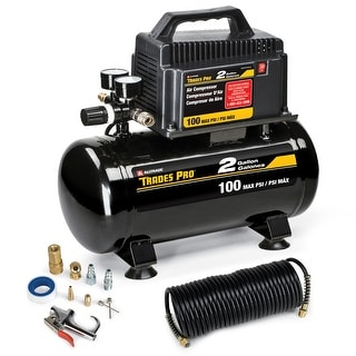 Trades Pro 2 Gallon Air Compressor With Accessories, 100 PSI Max - 837254
