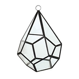 "CYS® Hanging Glass Vase Metal Geometric Teardrop Terrarium / Candle Holder - 9"" (Chain Included)"