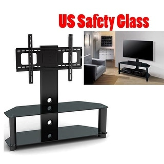 2xhome NEW - Modern Universal Integrated Heavy Duty TV Monitor Stand Mount Featuring Tempered Glass Shelves