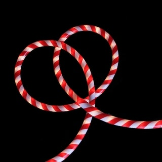 18' Red and White Striped Candy Cane Christmas Rope Light