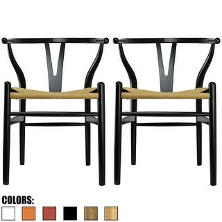2xhome Set of 2 Modern Wood Elbow Chair Y Back For Kitchen Dining Room with Woven Wish Bone Seat Bedroom Restaurant Kitchen