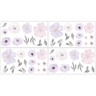 Sweet Jojo Designs Lavender Purple Pink Grey Watercolor Floral Wall Decal Stickers Art Nursery Decor (Set of 4) - Rose Flower