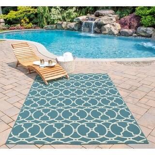 Momeni Baja Moroccan Tile Blue Indoor/Outdoor Area Runner