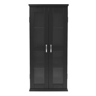 "Ryan Rove Kirkwell Home Decorative 41"" Contemporary Wood DVD Media Storage Tower - Black"