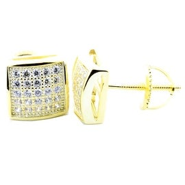 Square Shaped Square Earrings Yellow Gold Tone Silver Screw back 8mm Wide Round Pave CZ