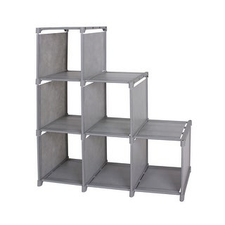 Kanstar 3-tier Storage Cube Closet Organizer Shelf 6-cube Cabinet Bookcase Gray - 4-Tier