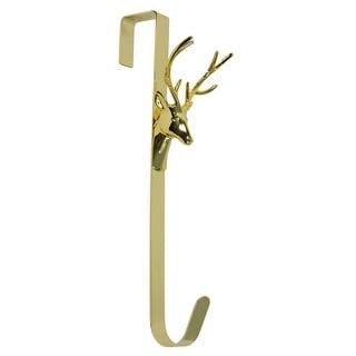 "15.25"" Gold Contemporary Shiny Deer Christmas Wreath Hanger"