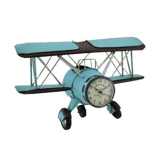 Blue Barnstormer Retro Biplane Wall Clock Sculpture 12 Inch - 7.25 X 11.75 X 4.75 inches