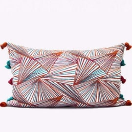 "Gentille Home Collection Luxury Orange Changing Geometric Pattern Tassels Pillow 12""X20"""